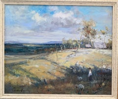 American late 20th century Impressionist landscape with figure, cottage, Sheep.