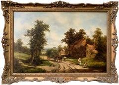 Late 19th century Antique English Village landscape, horses, people, haycart.