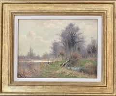 Antique early 20th century English Autumn river landscape