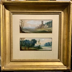 Pair of Flemish/Dutch 18th century oils on wood landscapes with figures