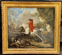 English 18th century Fox hunting landscape, with Dick Knight and Pytchley Hounds