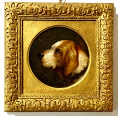 Portrait of a hound dog, English Victorian 19th century oil portrait of a hound