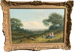 English country landscape with family resting with pet dog, 19th century oil.