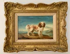 English 19th century folk art portrait of an English spaniel dog in a landscape