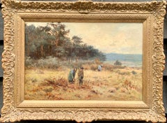English late 19th century Fall or Autumn landscape with figures collecting wood