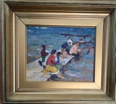 Russian mid century Impressionist figures on a pier by some water