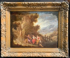 Italian 17th century Old Master of figures in a landscape by a road