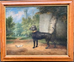Antique Oil painting of an English back and white dog, folk art in a landscape