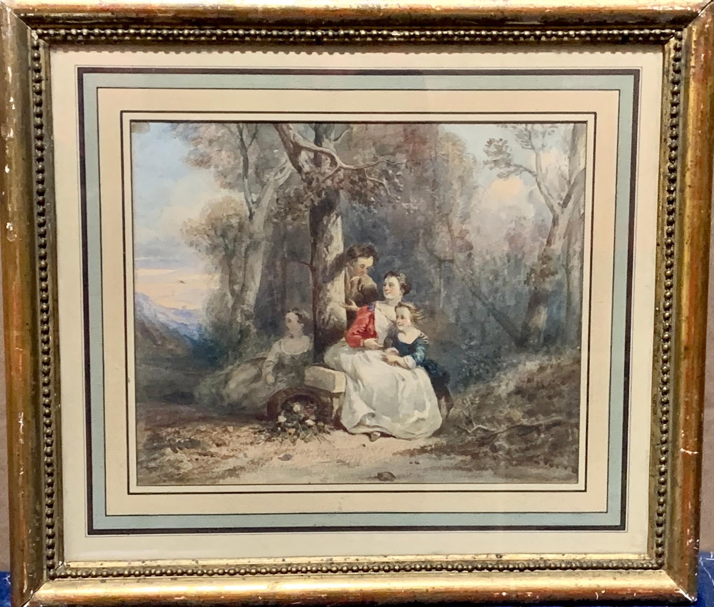 Early 19th century French watercolor of figures in a wooded landscape