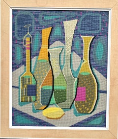 Mid Century Modern English Abstract tapestry of bottles, glasses on a table