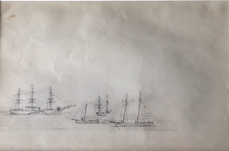 American School (19) Figurative Art - American ships being re-supplied possibly off the coast of Brazil or Barbados