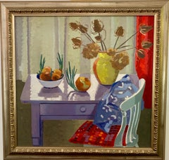 English Interior Still-life of table and chair, onions and flowers 1950s