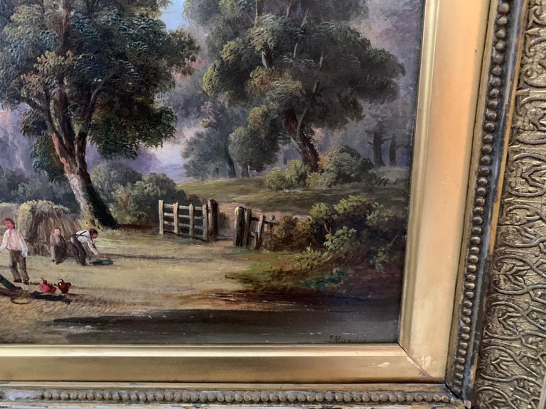 19th century English Antique Victorian Summertime Harvest landscape, with figures.  John Mundell was a British painter of landscapes as well as river scenes and coastal views. It is suggested that Mundell was a pseudonym of John James Wilson.