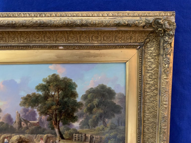 19th century Antique English Victorian Summer Harvest landscape, with figures. For Sale 3