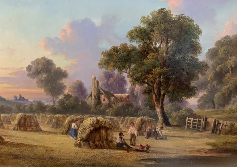 19th century Antique English Victorian Summer Harvest landscape, with figures. - Painting by John Mundell