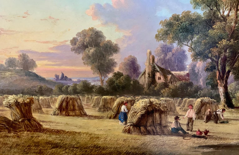 19th century Antique English Victorian Summer Harvest landscape, with figures. For Sale 1