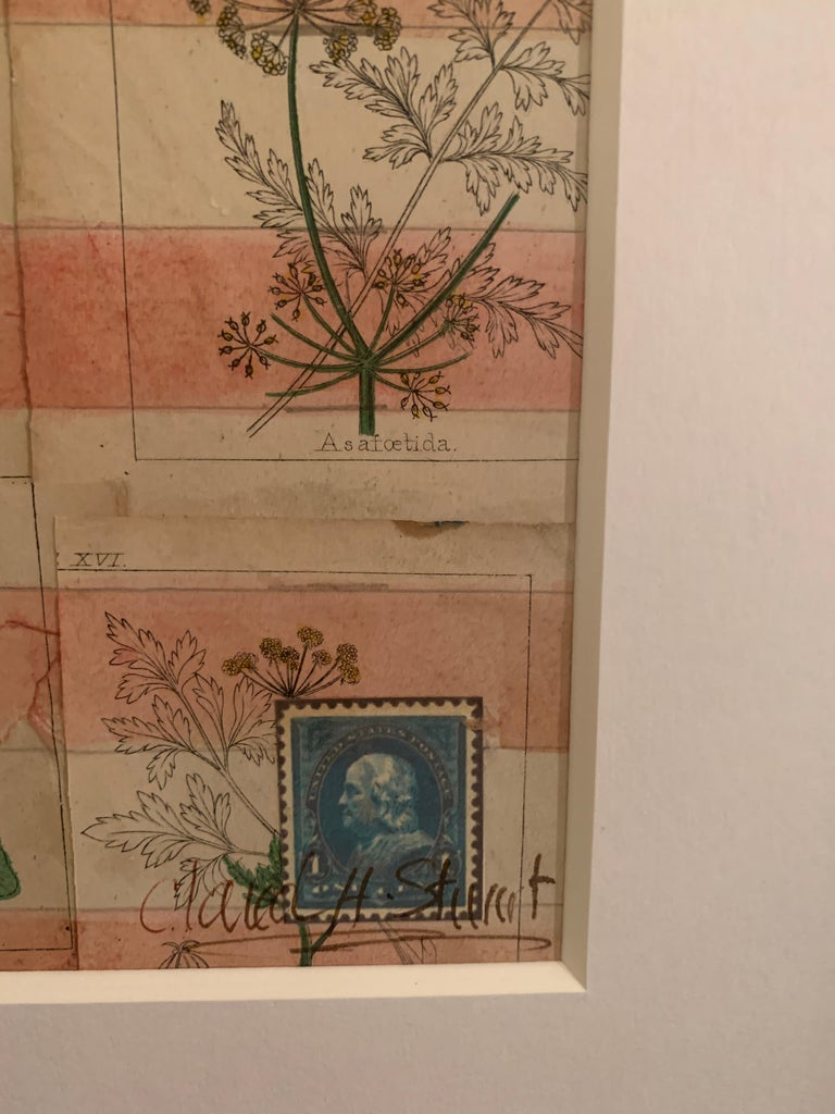 American flag collage with 19th century botanicals hand colored in watercolor  For Sale 2