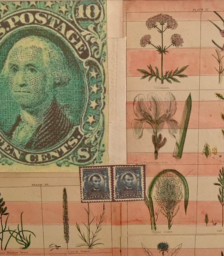 American flag collage with 19th century botanicals hand colored in watercolor  For Sale 1