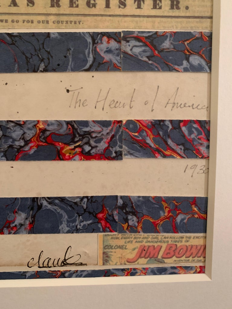 American flag collage with 19th century hand colored engraving with watercolor  For Sale 4