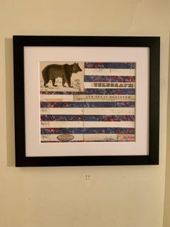 American flag collage with 19th century hand colored engraving with watercolor