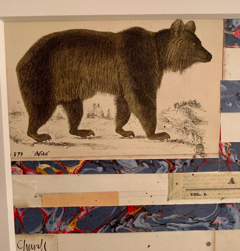 American flag collage with 19th century hand colored engraving with watercolor  For Sale 1