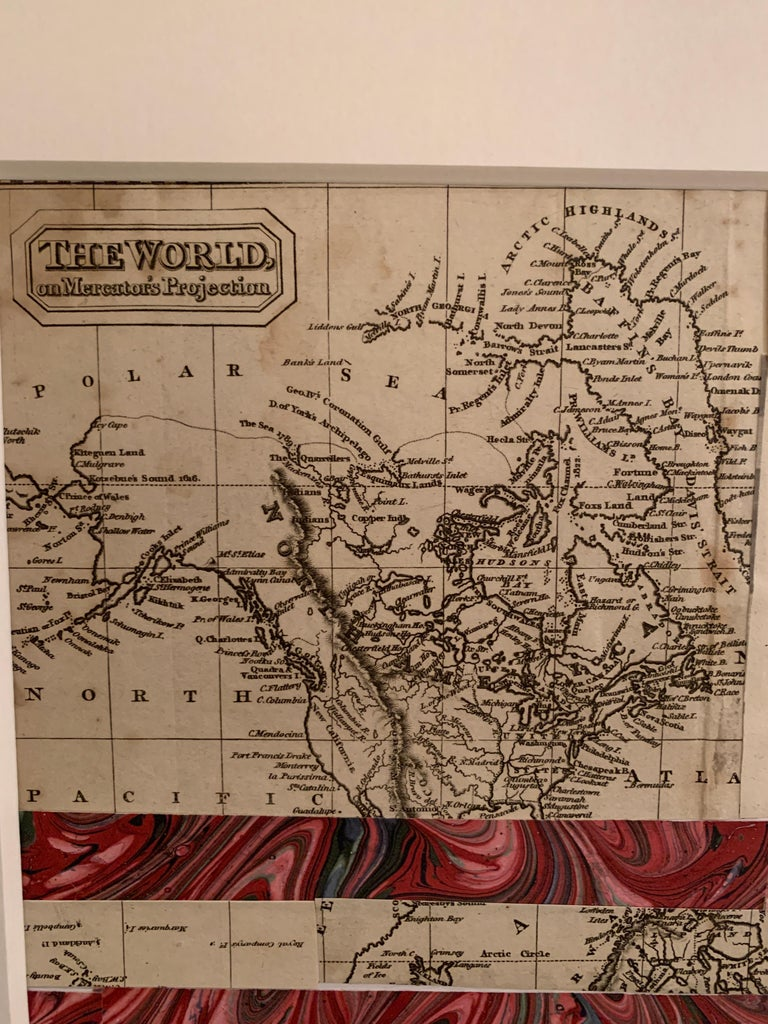 American flag collage with 19th century engraving of California as an Island For Sale 1