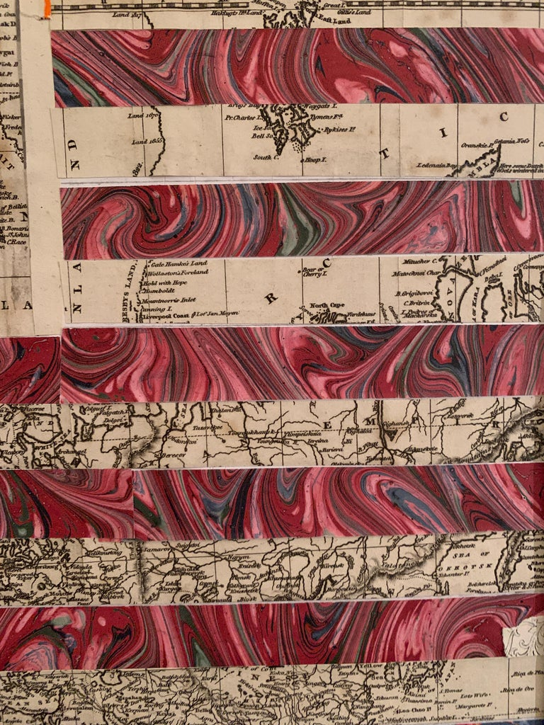 American flag collage with 19th century engraving of California as an Island For Sale 2