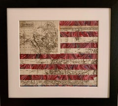 American flag collage with 19th century engraving of California as an Island