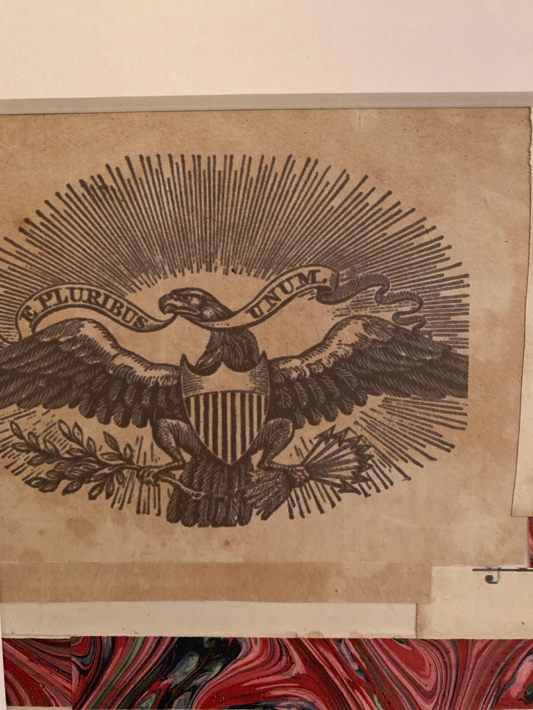 American flag collage with a 19th century engraving of an eagle  For Sale 1