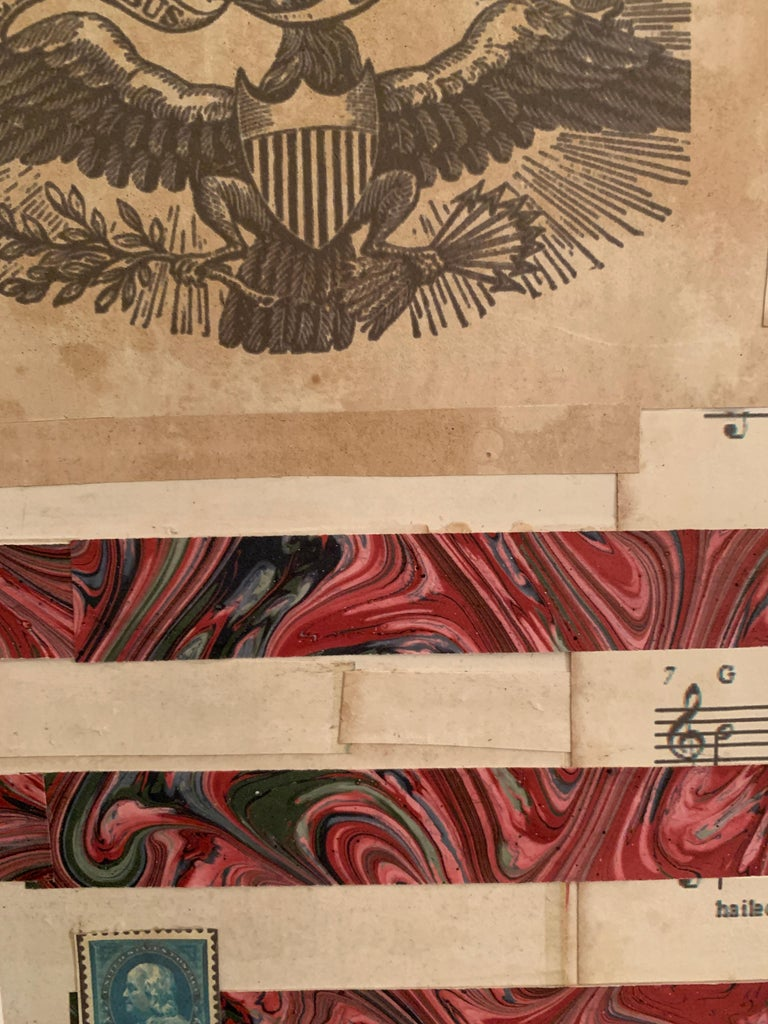 American flag collage with a 19th century engraving of an eagle  For Sale 4