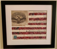 American flag collage with a 19th century engraving of an eagle
