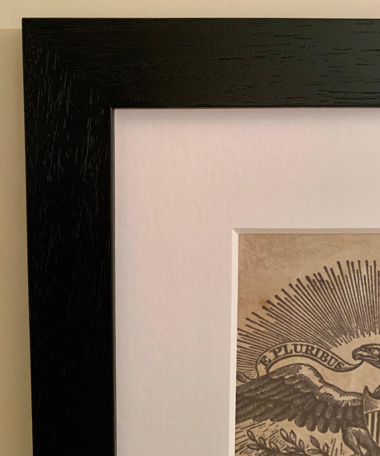 American flag collage with a 19th century engraving of an eagle  For Sale 5