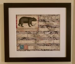 American flag collage with a 19th C hand colored engraving of a bear