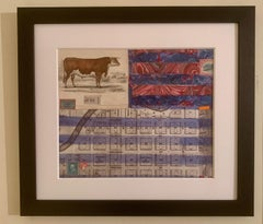 American flag collage with a 19th C hand colored engraving of a cow