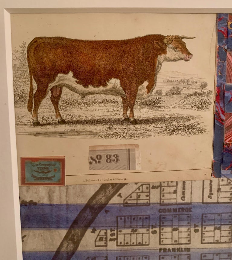 American flag collage with a 19th C hand colored engraving of a cow For Sale 1