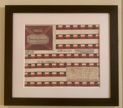 American flag collage with colored prints of the Texas flag and original ink
