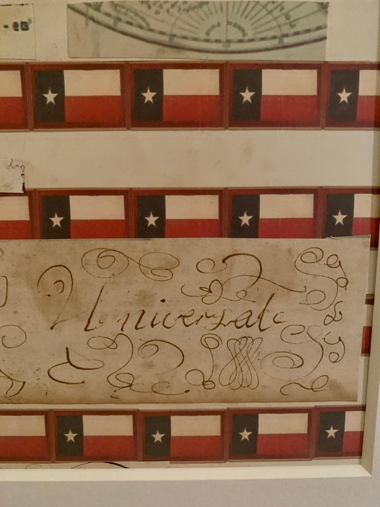 American flag collage with colored prints of the Texas flag and original ink For Sale 3