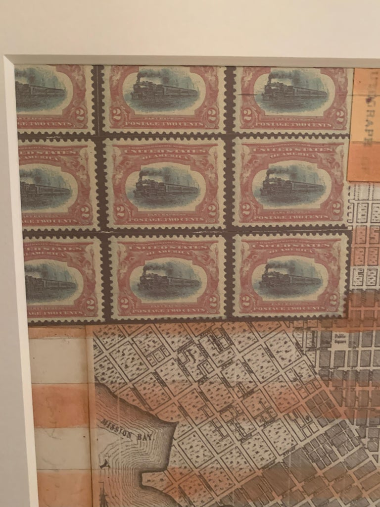 American flag collage with hand colored scene of 19th c San Francisco California For Sale 1