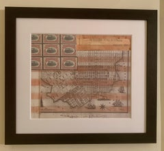 American flag collage with hand colored scene of 19th c San Francisco California
