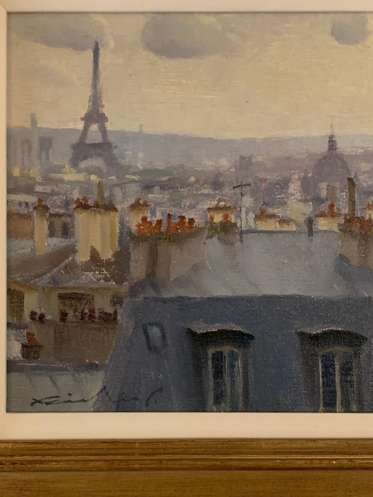 French roof top scene, with the Eiffel Tower, Paris , France, Impressionist - Painting by Richie Carter