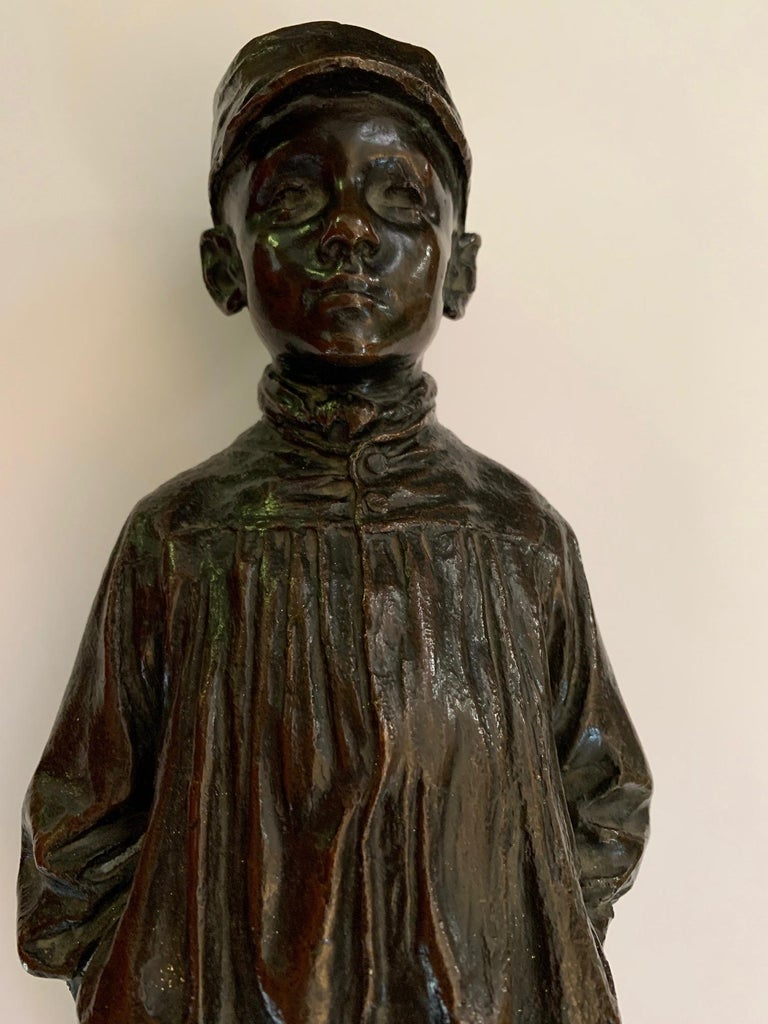 Bronze Spanish naturalistic 19th century sculpture of a young boy - Sculpture by Julio Marti