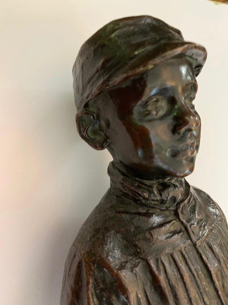 Bronze Spanish naturalistic 19th century sculpture of a young boy - Naturalistic Sculpture by Julio Marti