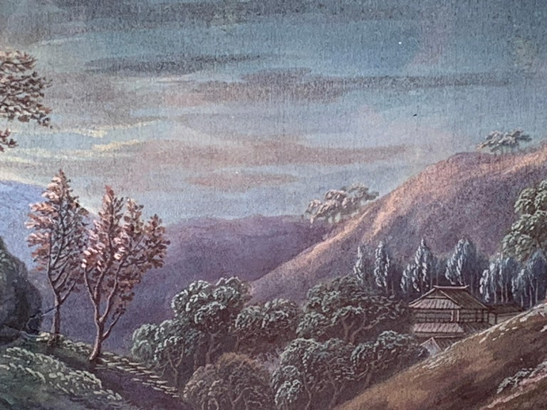 Wonderful China Trade Gouache on paper. It is a scene of a landscape possibly Chinese though many of these scenes were also of European scenes. This is of the finest quality and is in amazing condition. The color and brightness of this piece are