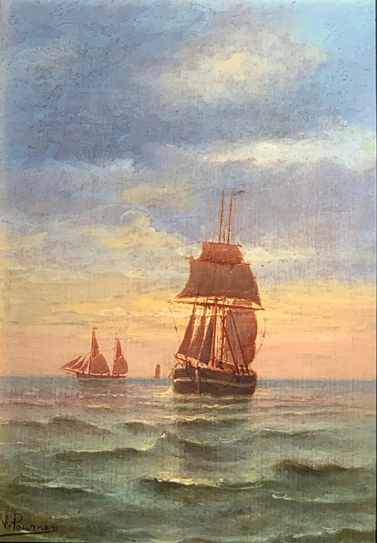 French 19th century Victorian Shipping scene at Sunset - Painting by N. Pauman