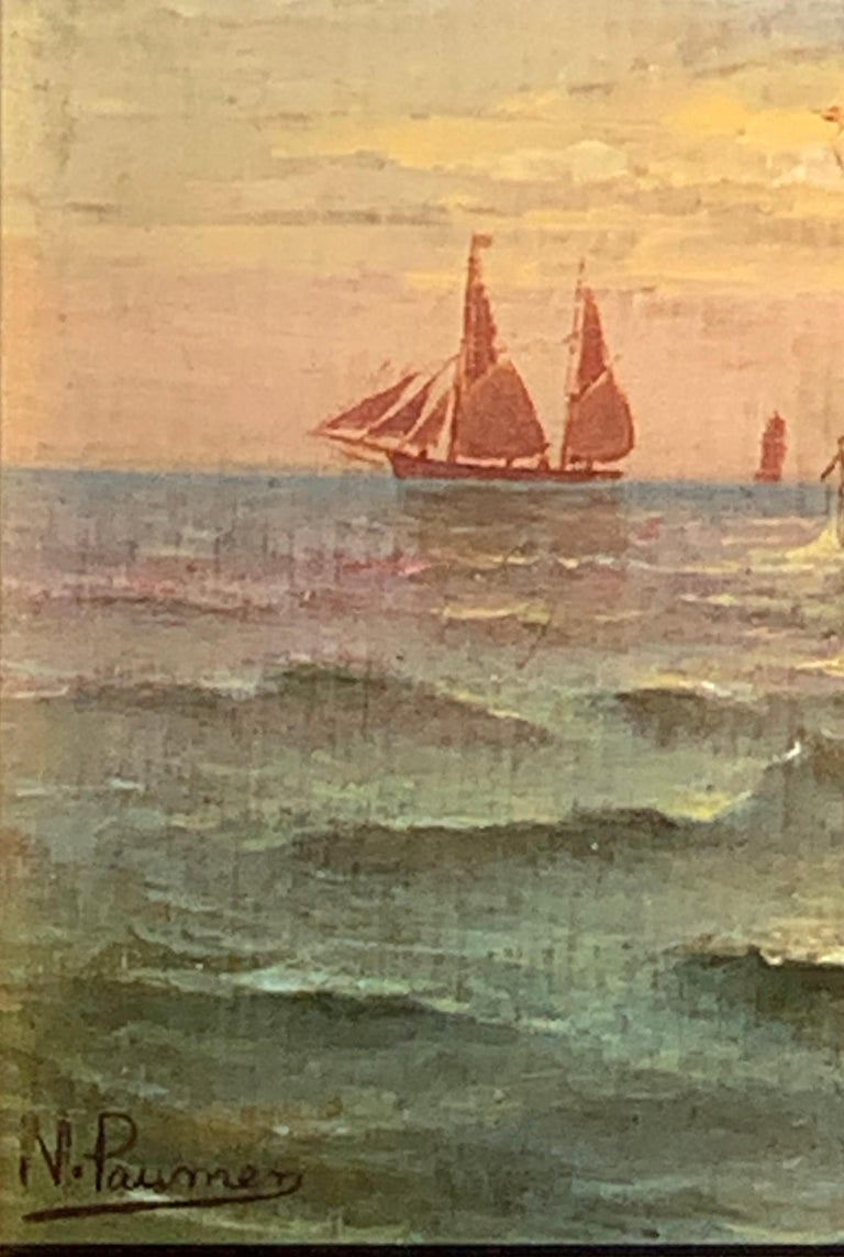 French 19th century Victorian Shipping scene at Sunset - Brown Landscape Painting by N. Pauman