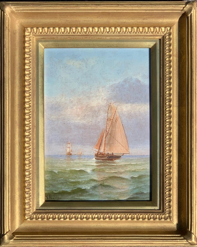 N. Pauman Landscape Painting - French 19th century Victorian Shipping scene at Morning time.