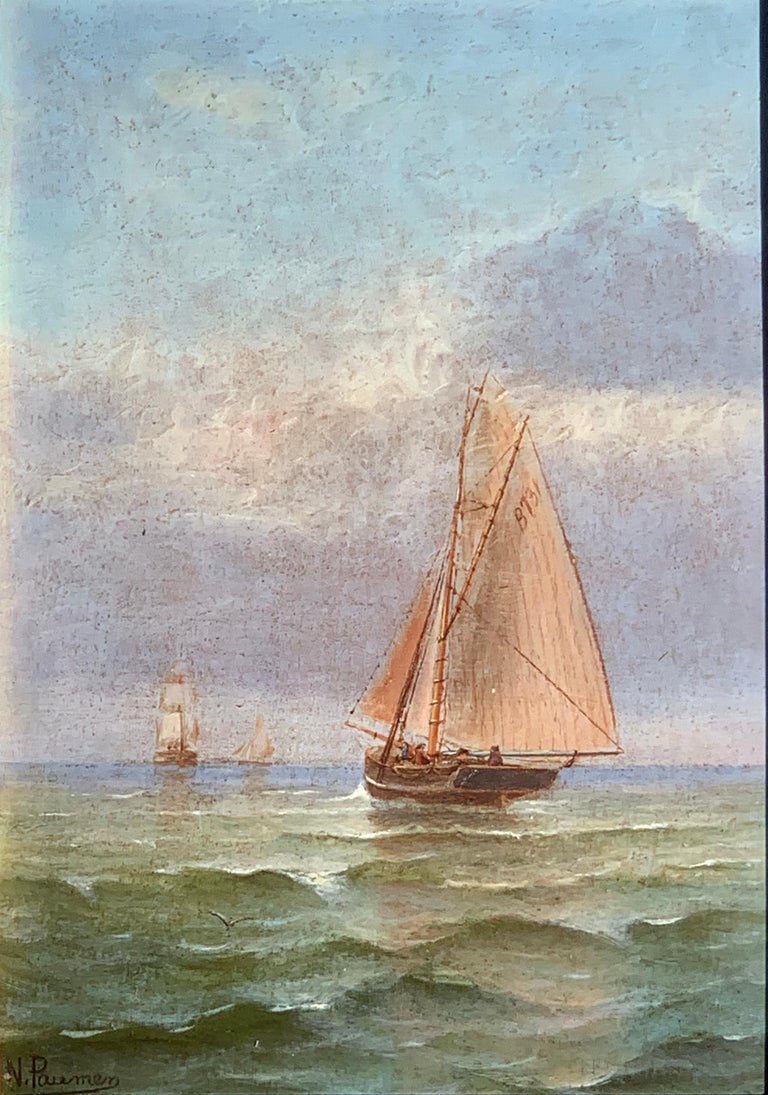 French 19th century Victorian Shipping scene at Morning time. - Painting by N. Pauman