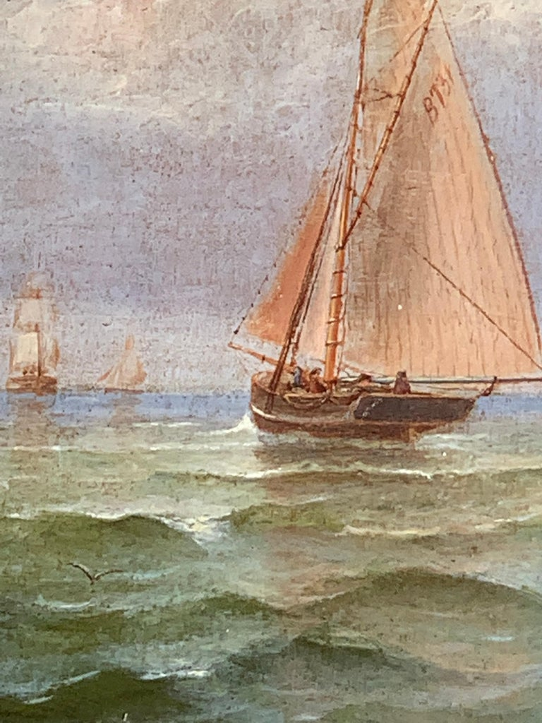 French 19th century Victorian Shipping scene at Morning time. - Brown Landscape Painting by N. Pauman