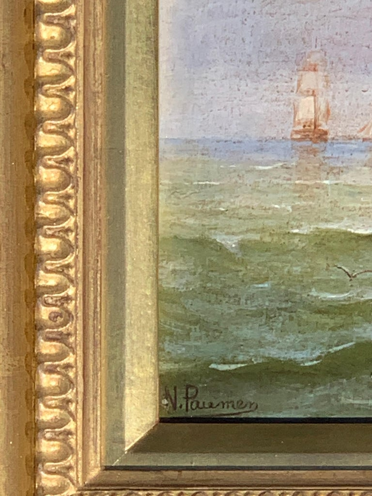 Wonderful late 19th-century oil on panel of wood depicting shipping at a sunset. Pauman was from either Belgium or France and his works are held in private collections in both countries. His work is always full of color and light, giving his