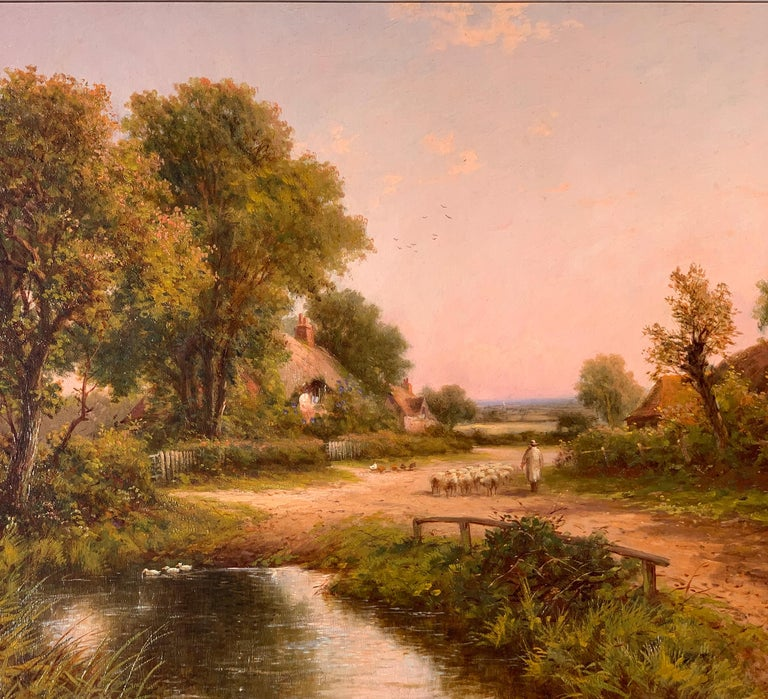19th Century Victorian English cottage landscape - Painting by Henry Maidment